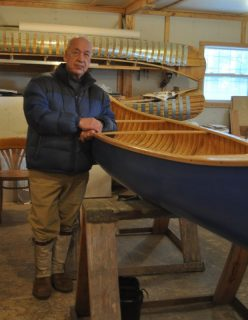 Joe Goudie at his canoe shop in Happy Valley-Goose Bay
