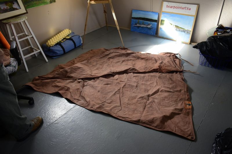 Edwin's sails. He just recently dyed them brown. These sails were used with a boat donated to our museum in the mid-2000s.