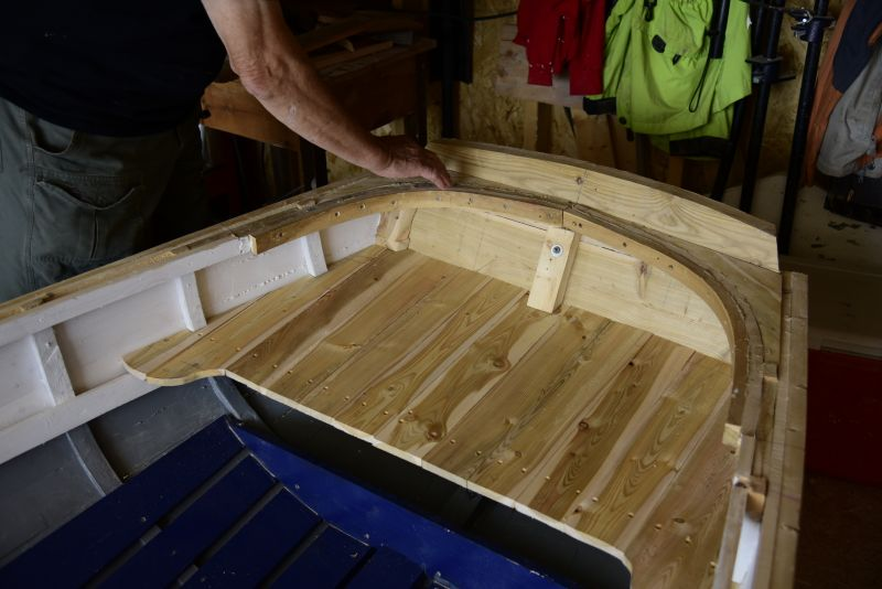 Juniper is used for the aft section of this rodney for the seat and stern knees. Edwin leaves the woodgrain exposed.