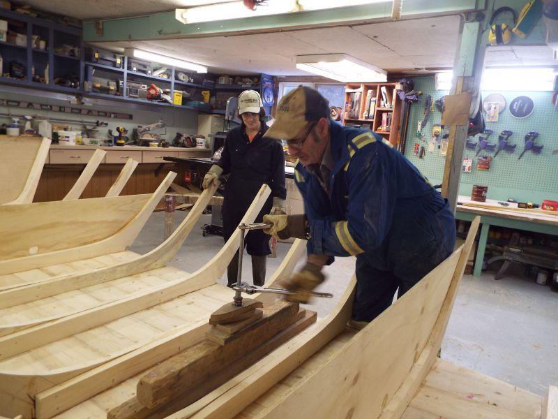 Velita and Mick building a dory - Photo courtesy of Marilyn Bruce