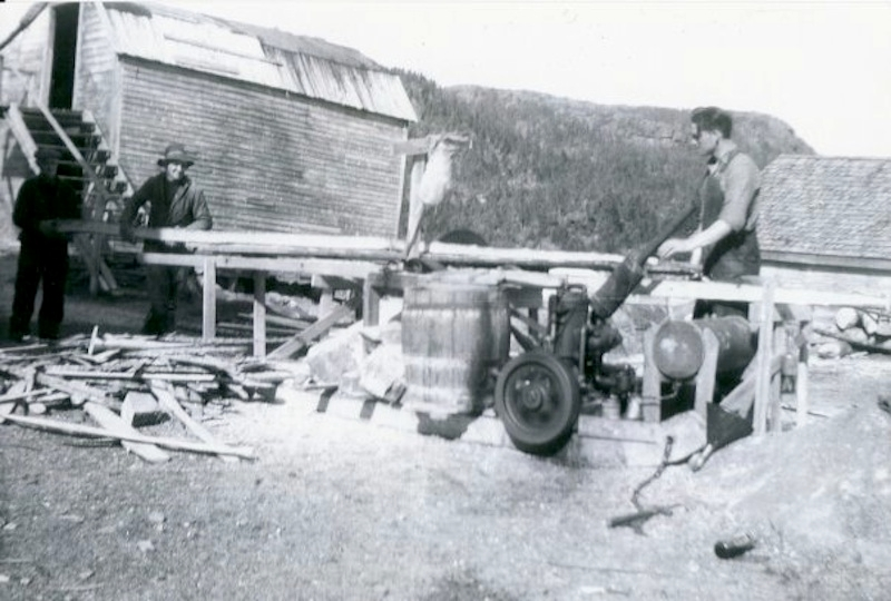 Calvie Meadus (right) sawing timber at sawmill in Loreburn