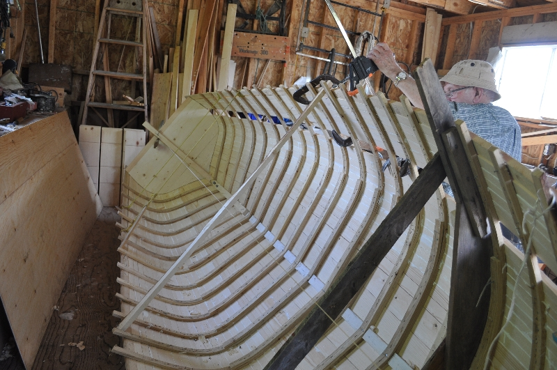 Sam used steamed laths for his punt