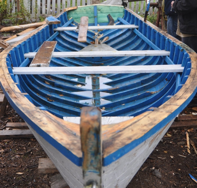 Punt built by Max Pollard in 2008 undergoing repair