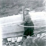Calvie's father Keid Meadus building a boat