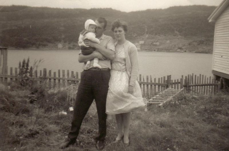 Lance, his wife Pat and their son David in British Harbour, July 1966